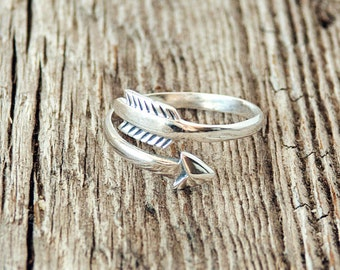 Arrow Adjustable Ring, Arrow Ring, Sterling Silver Ring, Gifts for Her, Gifts for Mom