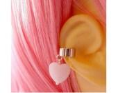 Pastel Goth Earring Cuff Cartilage Piercing Pastel Pink Heart Sweet Lolita Cuff Earring Fairy Kei Jewelry
