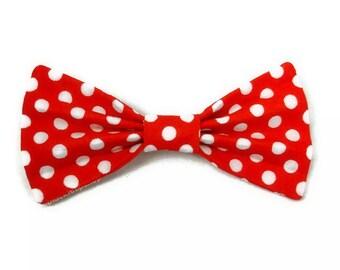 Red White Hair Bow Polka Dot Fabric Bow Kawaii Lolita Hair Bow Clip for Girls Teen Women Cute Hair Accessories Retro Rockabilly