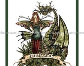 Dragon and Fairy Attitude 8.5x11 PRINT by Amy Brown