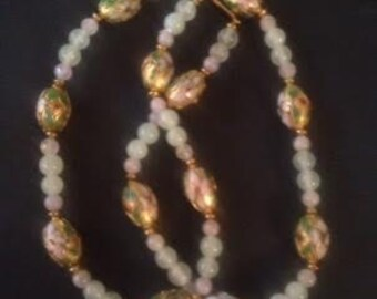 Vintage Green Jade, Pink Quart and Cloissone Bead Necklace