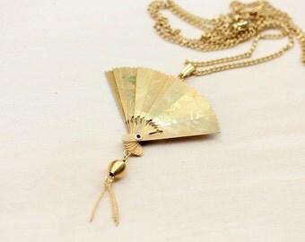 Gold Fan Necklace
