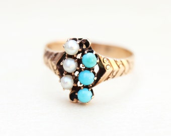 Turquoise Victorian Ring, Pearl Victorian Ring, Victorian Cluster Ring, Gold Victorian Ring, Gold Turquoise Ring, Gold Pearl Ring, Size 5.5