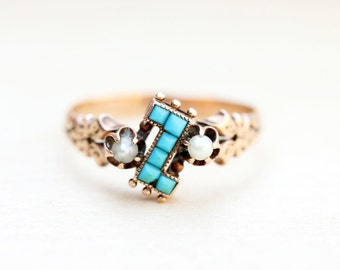 10K Victorian Turquoise and Pearl Ring - Size 7
