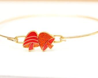 Orange Mushroom Bracelet, Enamel Bracelet, Mushroom Bracelet