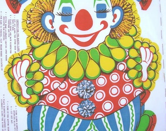 Vintage 60s Chester the Clown Pillow Fabric Panel