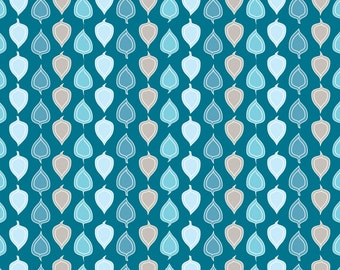 Woodland, Fabric, Leaf,Leaves,Organic, Cotton, Sateen,Woodland Night,Turquoise, Blue,Gray,Baby,Boy, Custom Colors, Exclusive Design, 1 yard