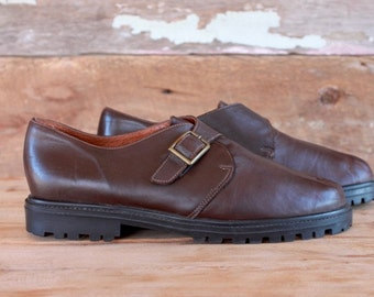 1990s monk strap shoes | size 8 | 90s brown leather loafers