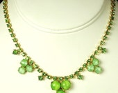 items 10% off Green Rhinestone and Peridot Glass Cabochon Necklace