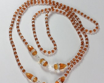 CIJ Sale Art Deco Flapper Necklace Topaz and Clear Crystal Glass Beads Vintage