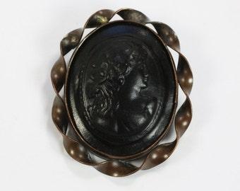 Victorian Cameo Brooch Gutta Percha or Vulcanite Mid Victorian Antique