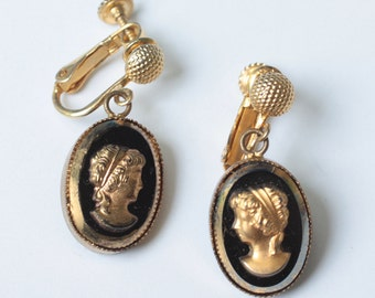 Gold and Black Cameo Earrings Dangle Adjustable Clip Vintage
