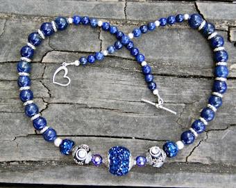 Star Filled Night Sky Lapis Lazuli Gemstone and Beaded Necklace