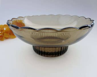Vintage Smoked Glass Pedestal Bowl  - Salad, Desert, Candy, Nut or Trinket Dish -  Brown Glass Footed Scalloped Rim Bowl