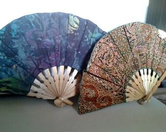 Vintage Fans, 2 Fabric Fans - Mid 20th Century