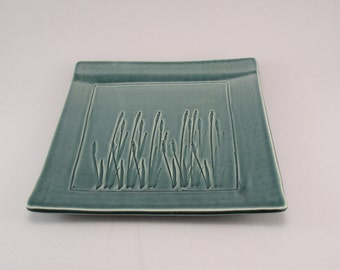 Ceramic Tray-Pottery Plate-Tableware-Stoneware-Leaves-Teal-Ready to Ship