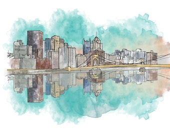 Pittsburgh Sunset Ink and Watercolor Drawing