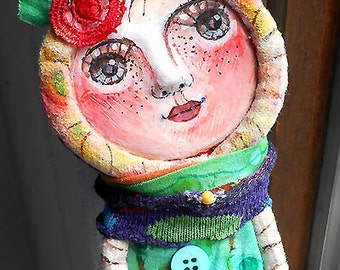 Original folk art Sweet Green doll hand made , hand painted  OOAK by miliaart studio