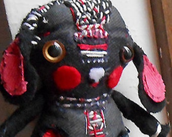 Original art doll folk art hand made Fabric Black Bunny OOAK from miliaart studio