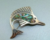 Sterling Abalone Swordfish Pin - Vintage