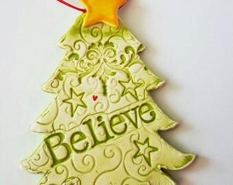 Christmas Tree Ornament | Believe Tree | Ceramic Tree | Christmas Ornament | Tree Ornament | Textured Clay