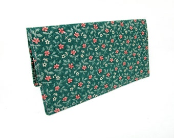 Small Pink Flowers Handmade Fabric Checkbook Cover / Washable