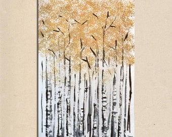 Large Rustic Wall Art Farmhouse tree Painting Landscape Acrylic on Canvas Large Gift Modern Home Decor Wall Art Painting birch tree white