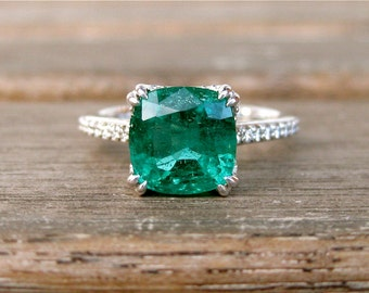African Emerald Engagement Ring in 14K White Gold with Diamonds and Scrolls on Basket Size 6