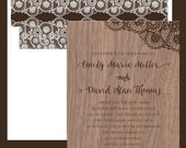 Real Walnut Wood Veneer with Lace Print Wedding Invitation - collection options available