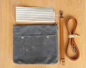 Waxed Canvas Crossbody Bag in Grey with Vintage Style Ticking Lining and Leather Strap, Waxed Canvas Cross Body Purse, Small Purse, USA Made