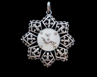 Antique French Silver Metal and Mother of Pearl Ermine Fleur de Lys Pendant