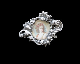 Portrait Brooch Handpainted French 19th Century