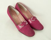 1950s 1960s Hill and Dale Pink Suede and Leather Women's Vintage Pumps Shoes Size 10AA