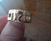 Hebrew Shalom 14kt Yellow Gold Handmade Ring With Hearts on Sides