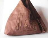 Hobo Bag Ultra Suede faux suede vegan brown beaded embroidered elephant Lined Handmade