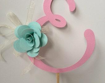Paper Cake Topper - Letter E
