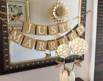 Just Married  Banner - White and Gold Ready to Ship