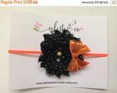 SALE Halloween Headband - Baby Headband - Halloween Bow Orange and Black Shabby Newborn Baby Girl Infant Toddler Girls Halloween Headband