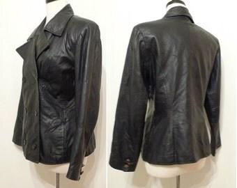 sale Black Leather Jacket Pat Benatar Leather Biker Blazer Coat 80s Fitted Grunge Gothic Jacket. Avant Garde Motorcycle Moto Racer