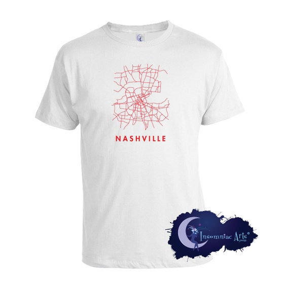 Nashville tennessee map t shirt by insomniacarts on etsy for Nashville t shirt printing