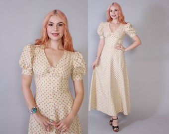 Vintage 70s MAXI DRESS / 1970s Ivory Floral Puff Sleeve Long Boho Dress xs