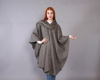 Vintage 70s PONCHO CAPE / 1970s Black & White Wool Check with Attached Scarf