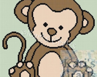 Baby Monkey Afghan Blanket PDF Pattern Graph + Written Instructions - Instant Download