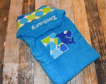 Personalized Hooded Infant / Child Towel - Beach Wrap - Name Initial and Character of Your Choice