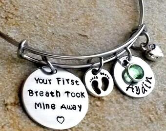 Personalized Bangle Bracelet -Wire Bracelet-Your First Breath Took Mine Away-Charm Bracelet-Gift for Mom-Personalized Name-Wire Bangle