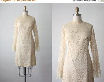 30% OFF SALE 60s dress / early sunset dress / 1960s lace dress
