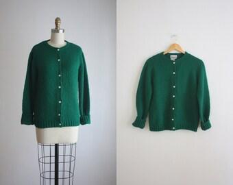 emerald green cardigan / vintage cardigan