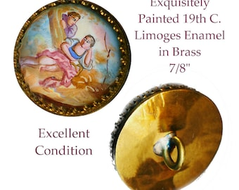 Button--Fine 19th C. Medium Limoges Enamel on Brass Pastoral Scene of Lovers
