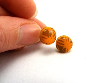 Polymer Clay Jewellery, Orange Pattern Studs, Post Earrings