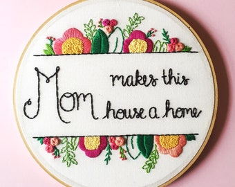 First Mothers Day Gift. Hand Embroidered Gift for Mom. Gift for Her. Gift Under 150. Embroidery Hoop Art. Floral Embroidery Art by KimArt
